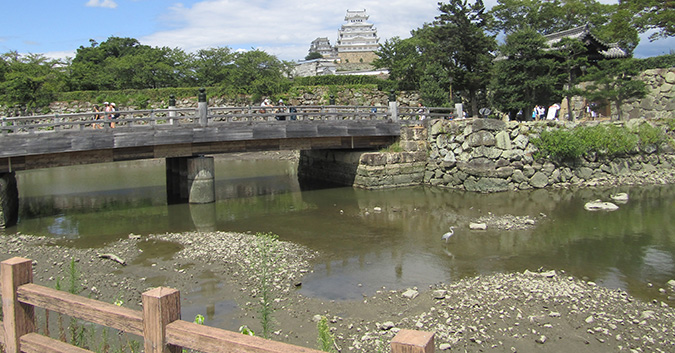 今日の姫路城水位が下がって0